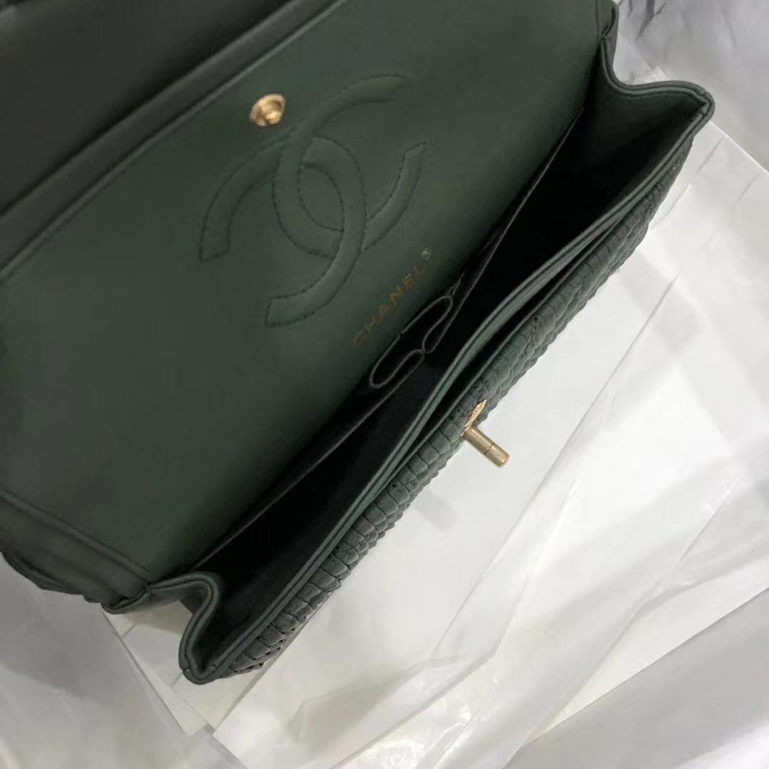Chanel 香奈儿 希腊褶皱款 25cm绿色 纯手工打褶 磨沙金 质感满满