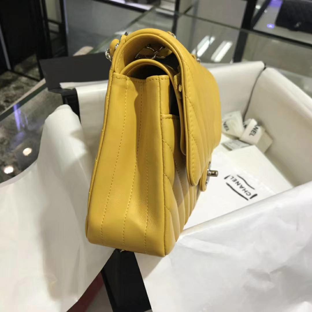 Chanel 香奈儿 VZ系列 25cm 进口小羊皮 芒果黄 银扣