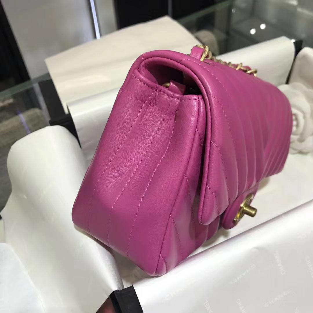 Chanel 香奈儿 VZ系列 20cm 进口小羊皮 玫红 金扣