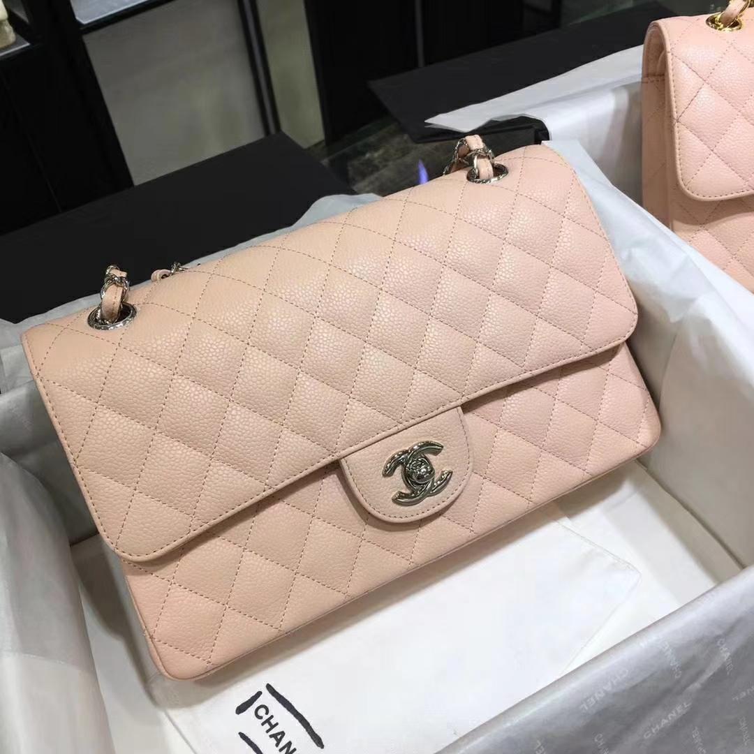 Chanel 香奈儿 Cf系列 25cm 进口鱼子酱 裸粉 银扣