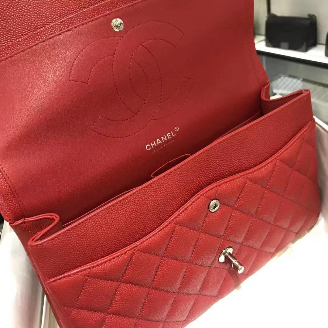 Chanel 香奈儿 Cf系列 30cm 进口鱼子酱 大红色 银扣