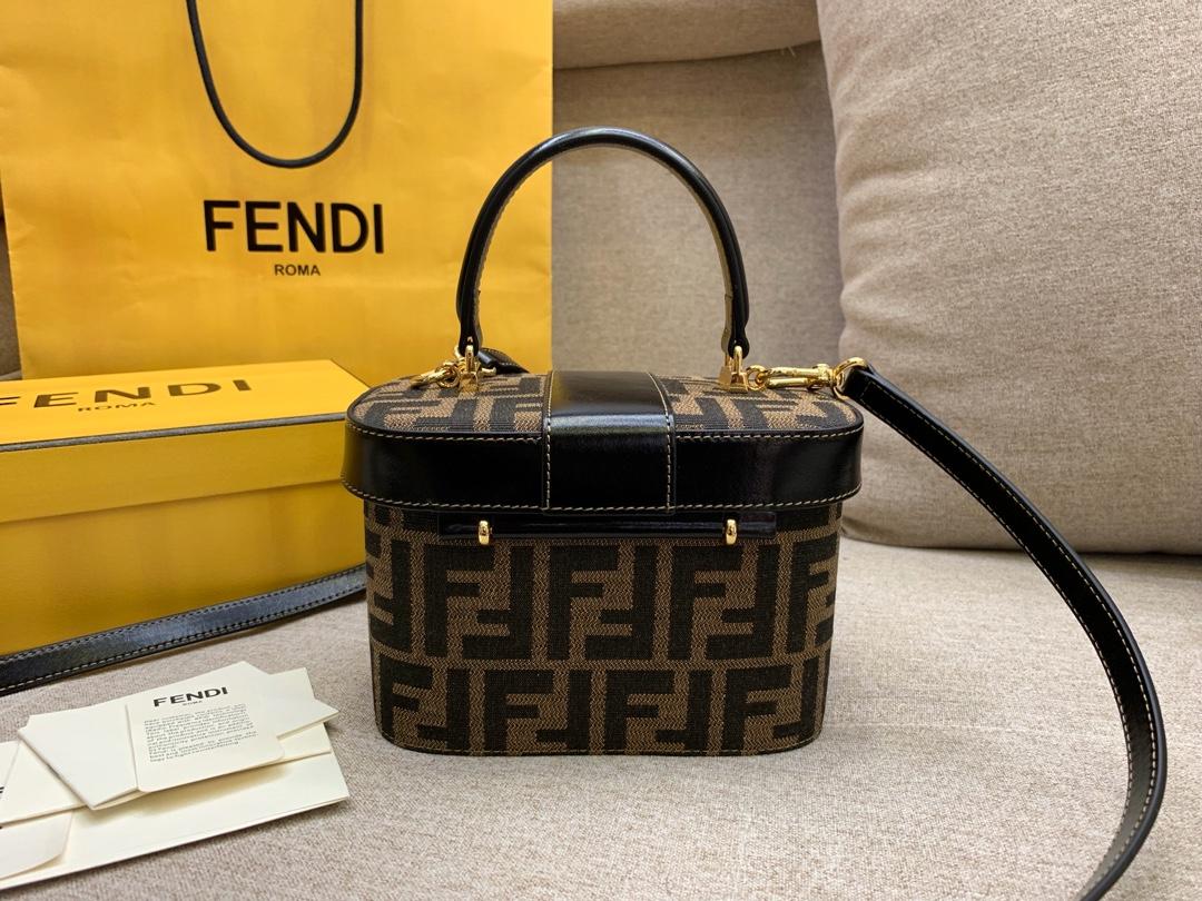 FENDI 芬迪 vintage盒子 大容量 棕色FF图案 17x12x9cm黑色8002