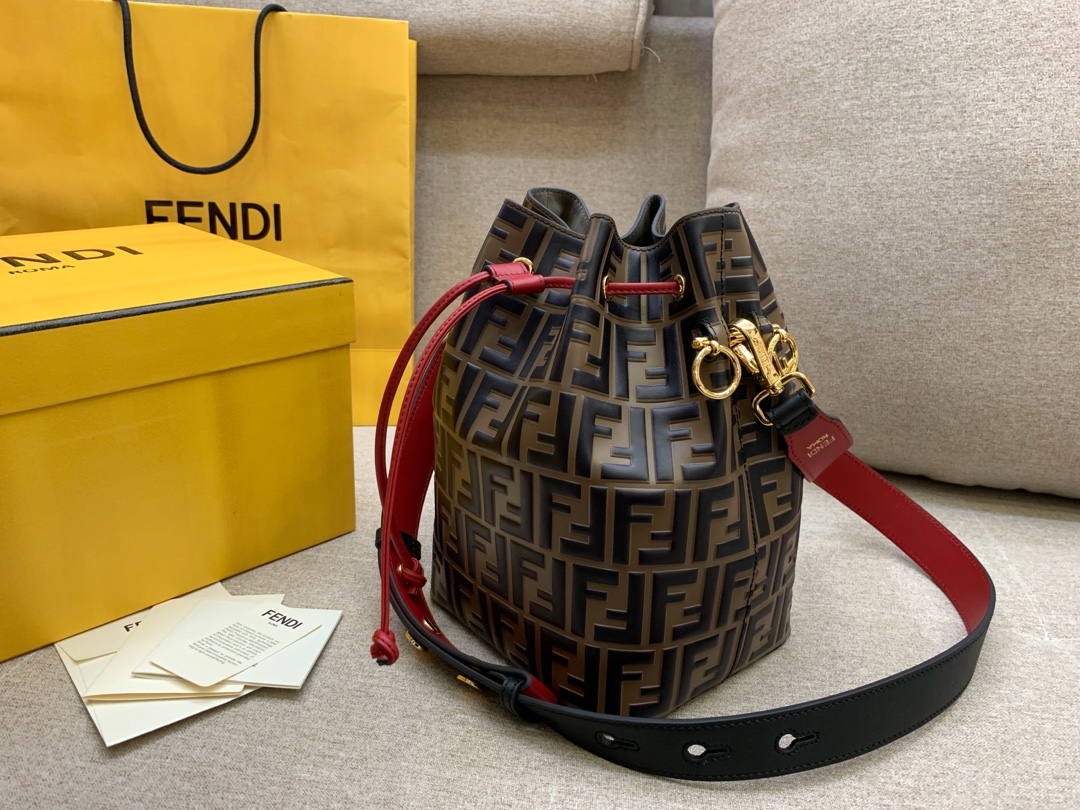 MonTresor水桶包 红配咖色5539-2 棕色提花FF图案 FENDI官网同步