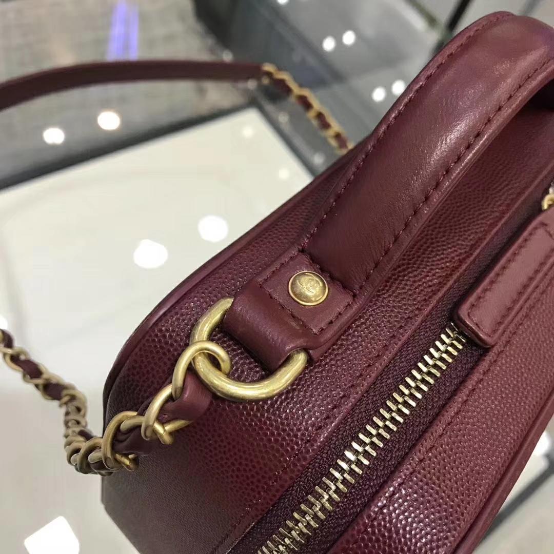 Chanel 香奈儿 化妆包 21cm 原厂皮小鱼子酱 枣红