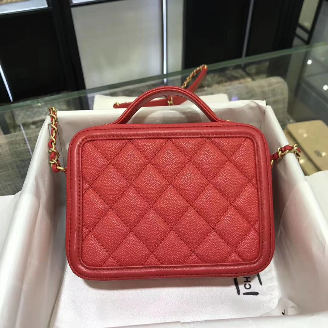 Chanel 香奈儿 化妆包 17cm 原厂皮小鱼子酱 西瓜红