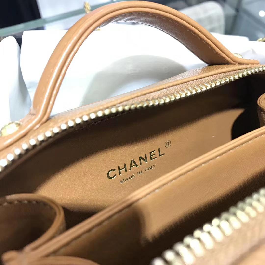 Chanel 香奈儿 化妆包 17cm 原厂皮小鱼子酱 焦糖色