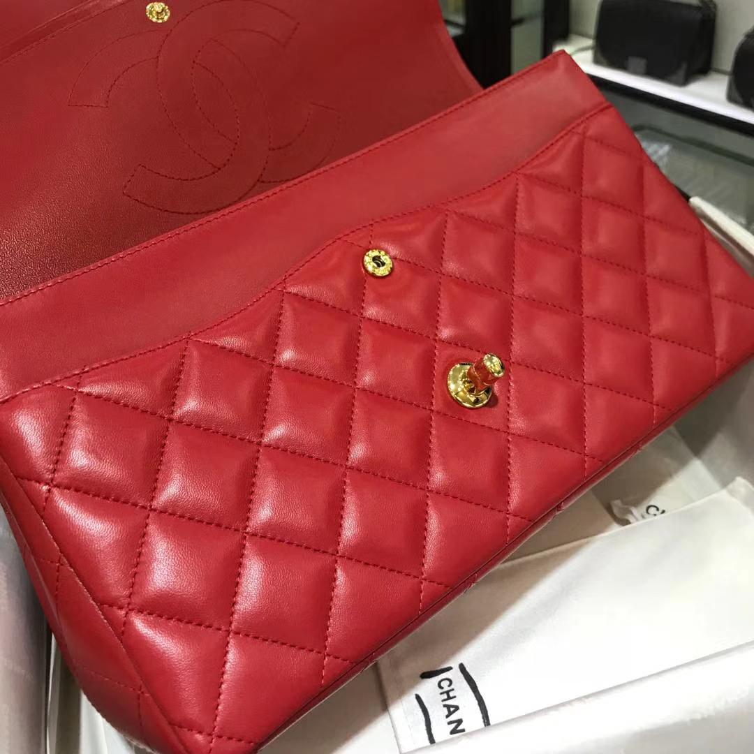 Chanel 香奈儿 ClassicFlap小羊皮 大红色 30cm 金扣