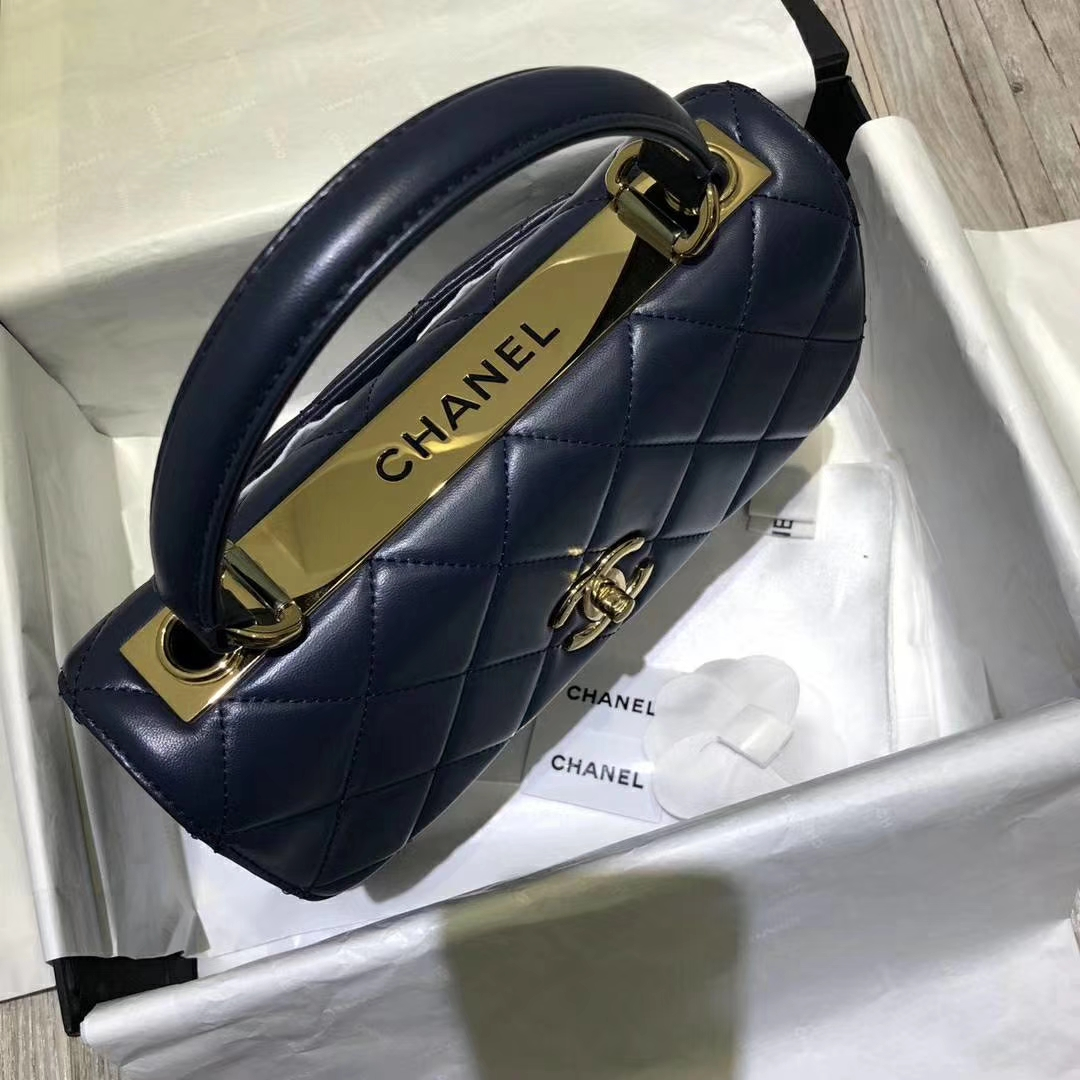 Chanel 香奈儿 TrendyCC 小羊皮 宝石蓝色 25cm 银扣(现货)