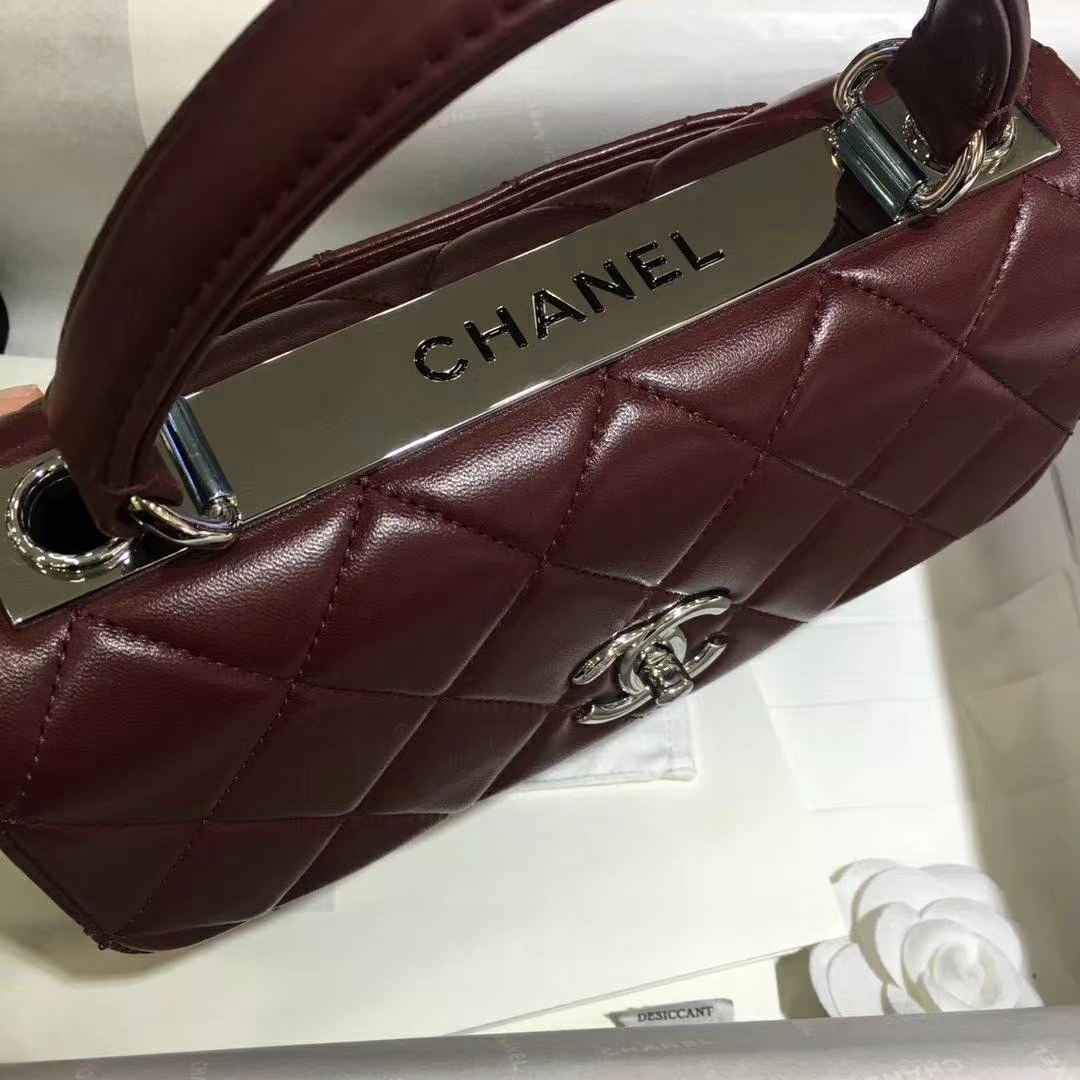 Chanel 香奈儿 TrendyCC 小羊皮 酒红色 25cm 银扣 (现货)