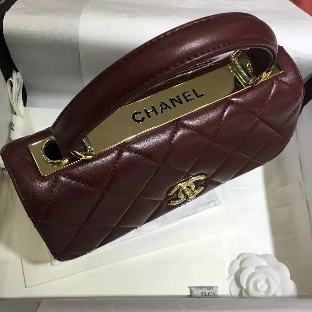 Chanel 香奈儿 TrendyCC小羊皮 枣红色 25cm 金扣 现货