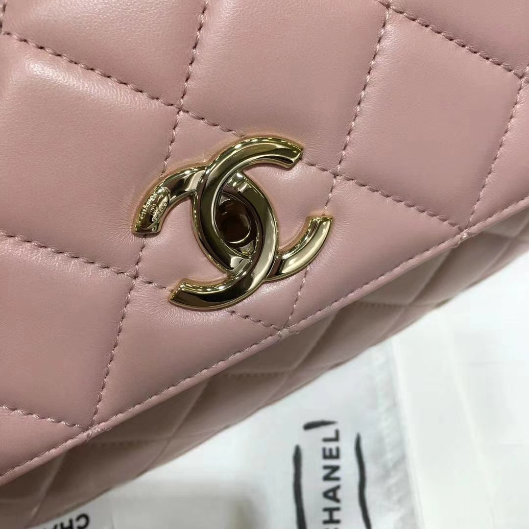 Chanel 香奈儿 TrendyCC小羊皮 浅粉色 25cm 金扣 现货