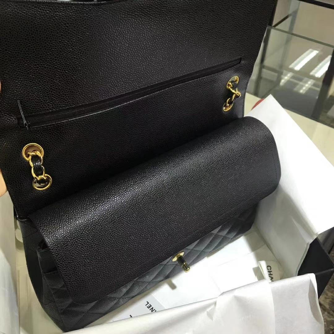 Chanel 香奈儿 Cf系列 30cm 进口鱼子酱 黑色 金扣