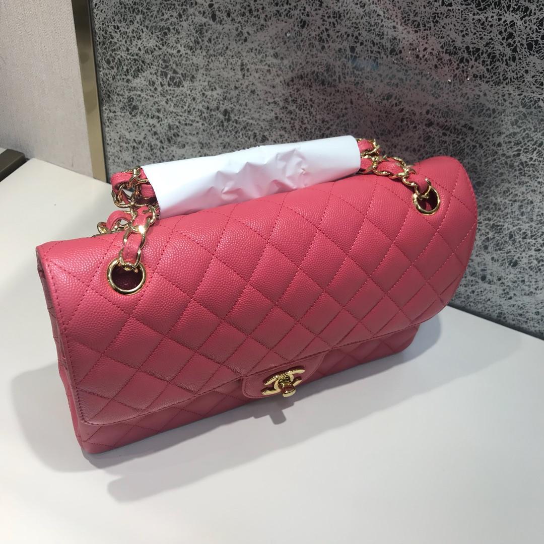 Chanel 香奈儿  Classic Flap 代购版本 25cm 进口小鱼籽酱 西瓜红 金扣