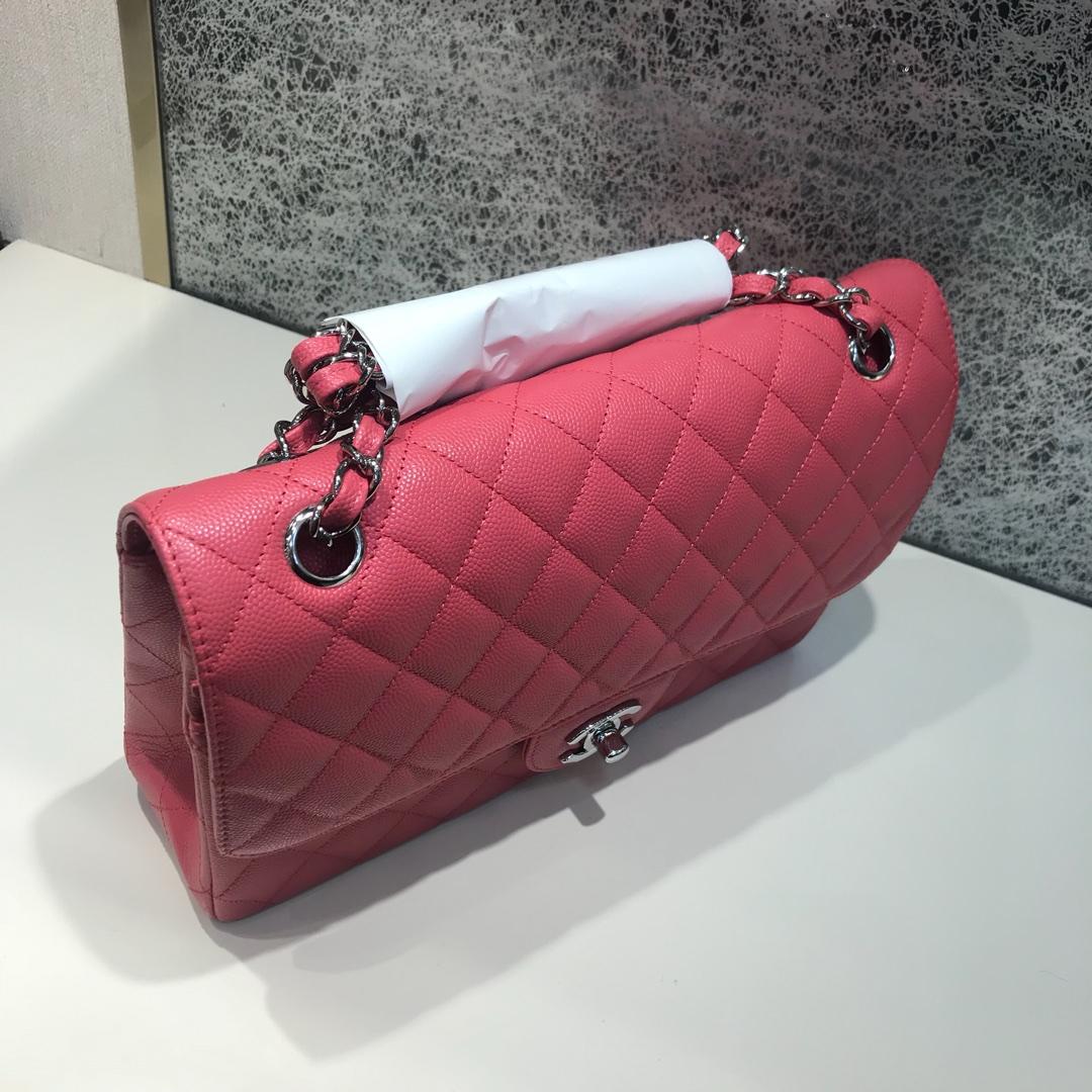 Chanel 香奈儿 ClassicFlap 代购版本 25cm 进口小鱼籽酱 西瓜红 银扣