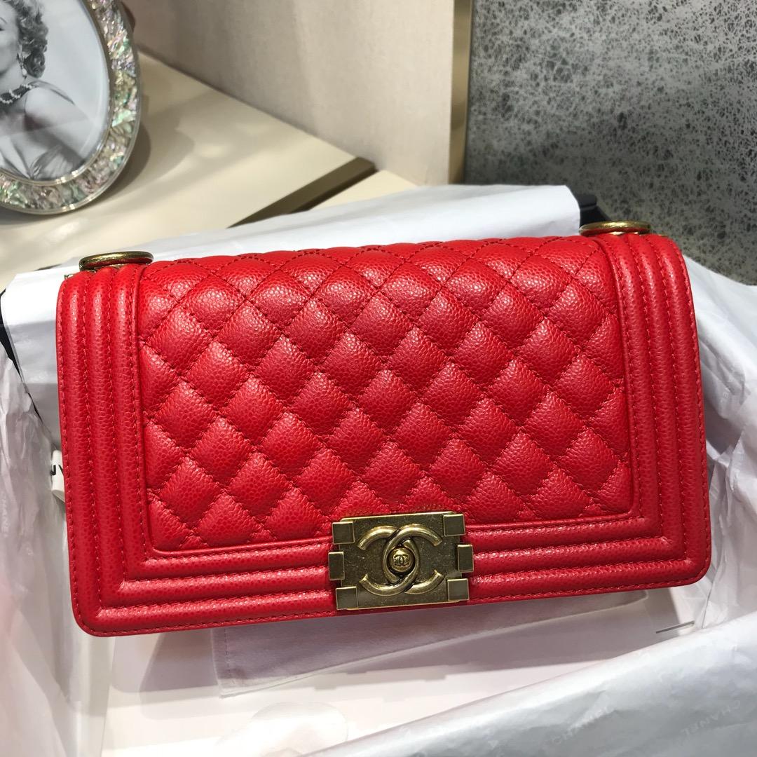 Chanel 香奈儿  Leboy 代购版 25cm 进口小牛皮 大红色 古金