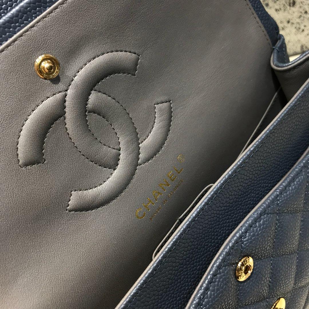 ClassicFlap 代购版本 25cm 进口定制鱼子酱 灰蓝色 金扣 进口定制皮