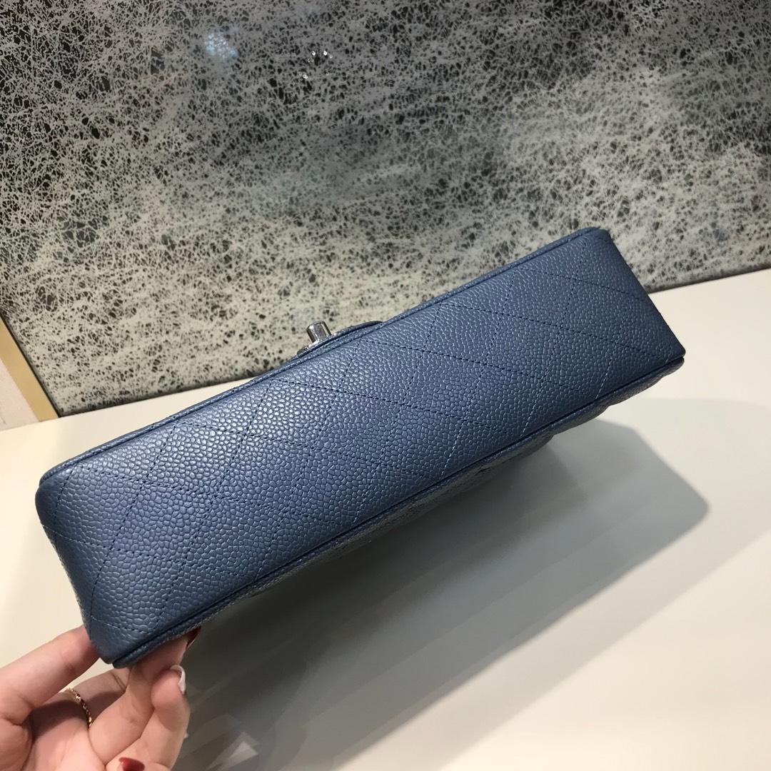 Classic Flap 代购版本 25cm 进口定制鱼子酱 灰蓝色 银扣 进口定制皮