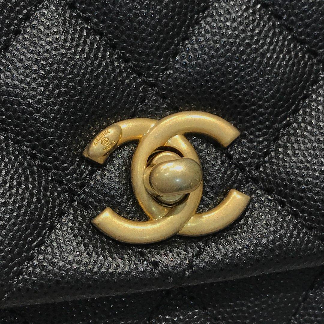 CoCo Handle 顶级代购版 23cm 原厂小牛皮 球纹手柄 黑色 沙金