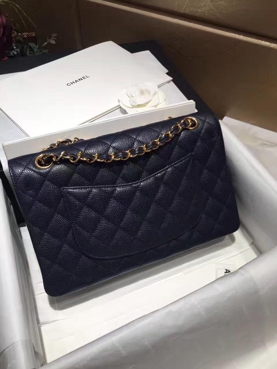 Classic Flap 代购版本25cm~进口鱼子酱 ~海军蓝~金扣