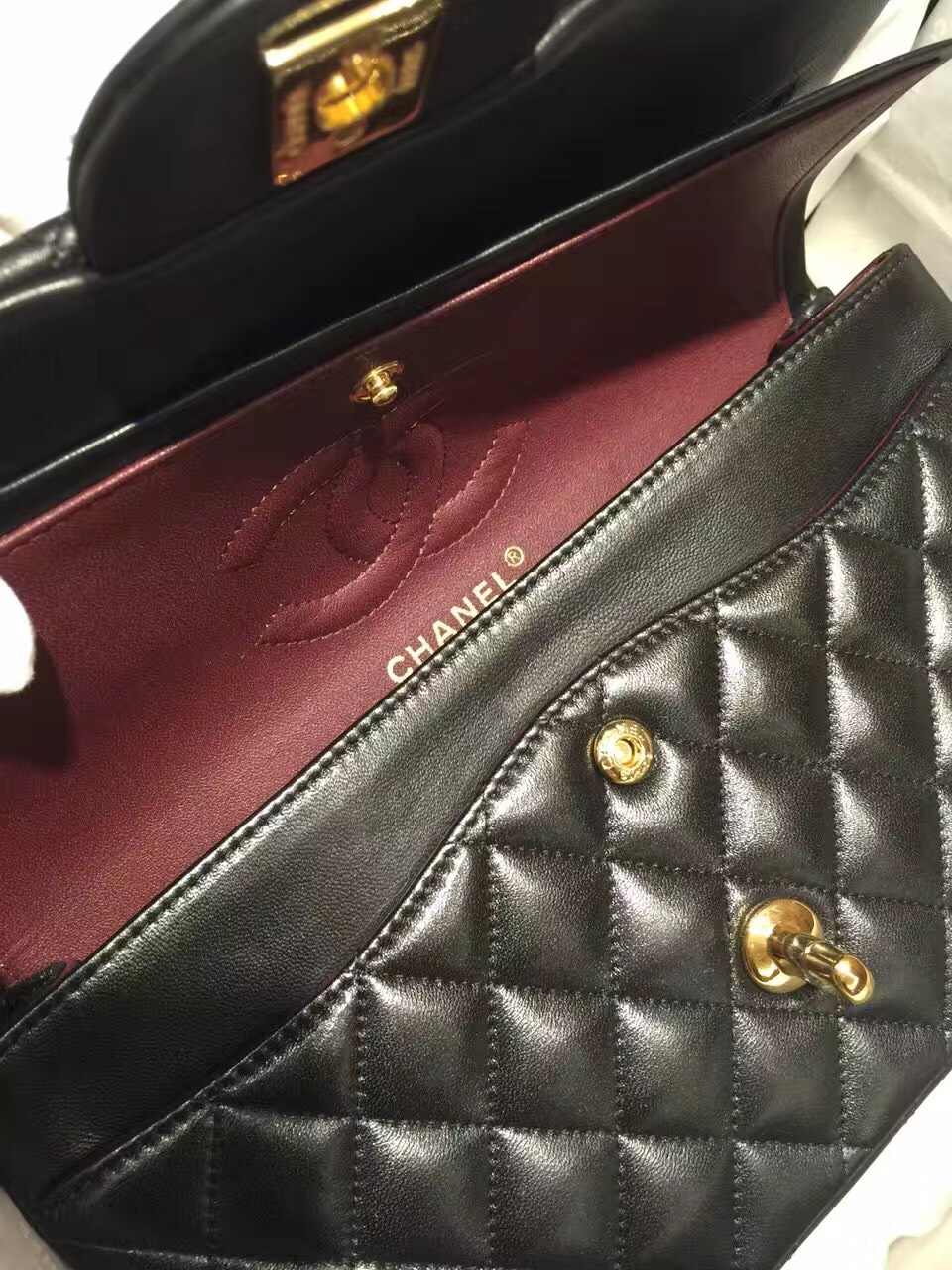 Classic Flap 代购版本 25cm 进口定制小羊皮 黑色 金扣