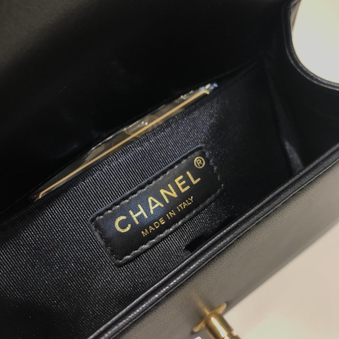 Chanel 香奈儿 Leboy 代购版本 大V款 20cm 进口小羊皮 黑色 纱金