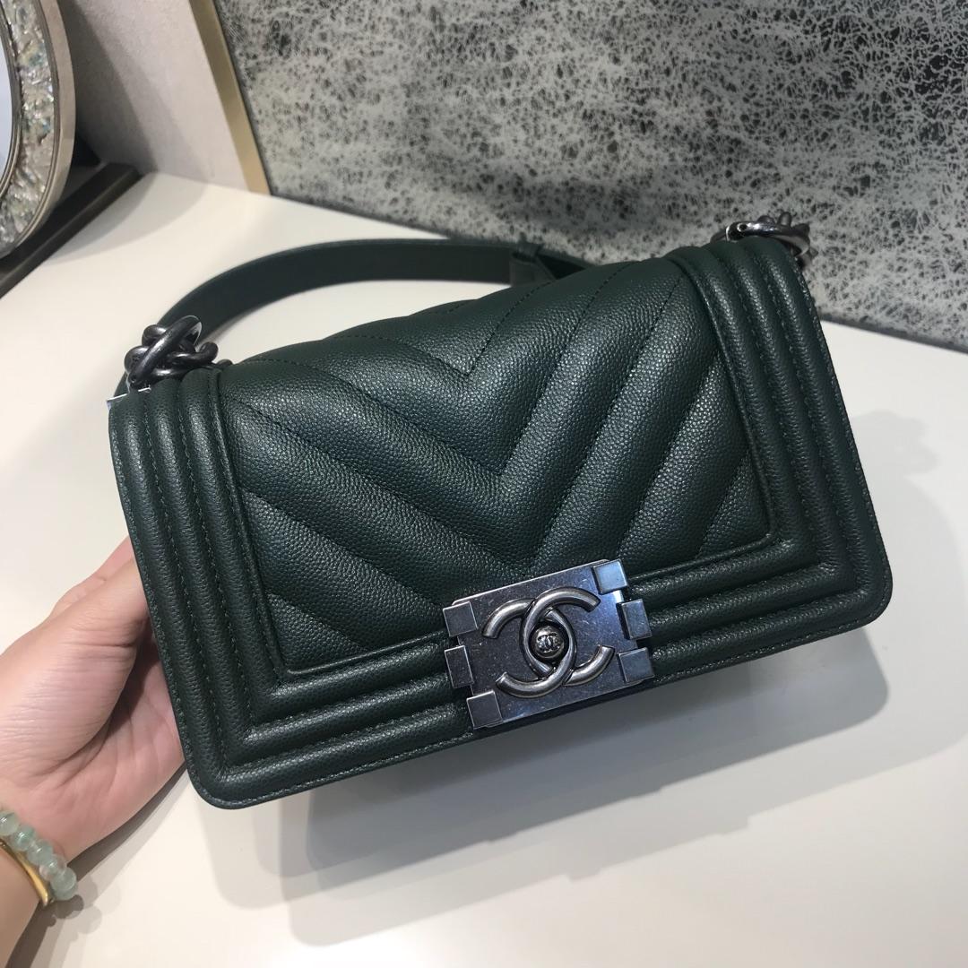 Chanel Leboy 代购版本 大V款 20cm 进口小鱼子酱 祖母绿 古银