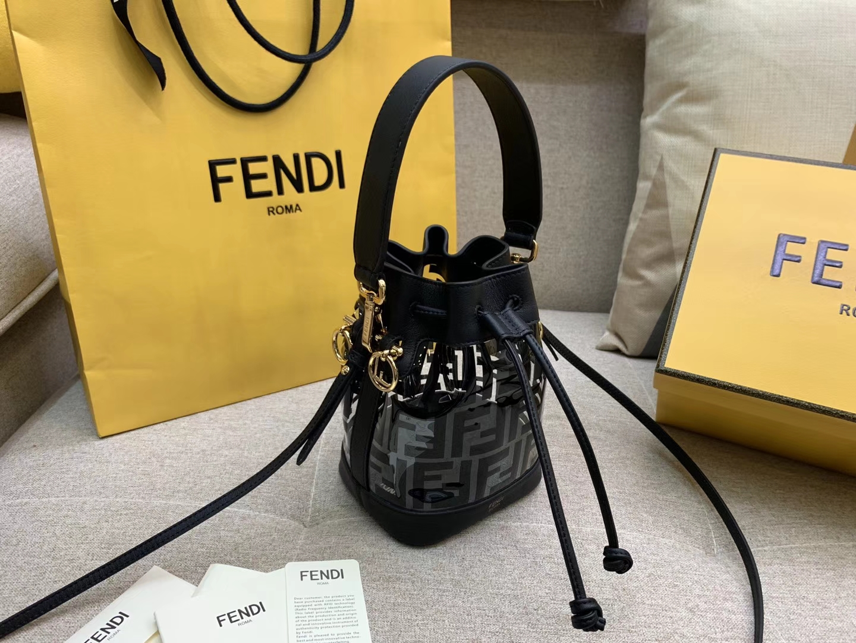 Fendi 芬迪 Mon Tresor 小号水桶手袋 全透明的TPU 18x12x10cm 黑色