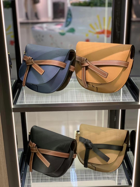 Loewe Gate系列 2019新色 斜挎中号 龙虾粉 牛仔蓝 黑色 奶茶色 中国红 焦糖色