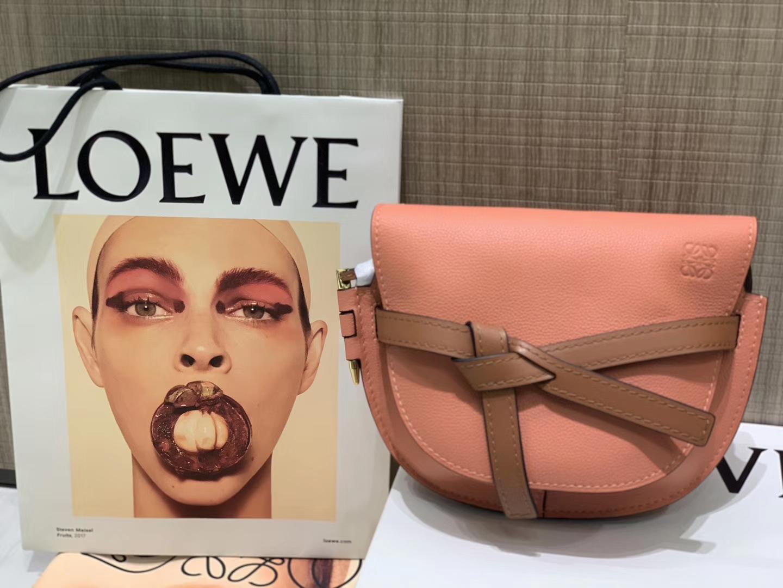 Loewe Gate系列 2019新色 斜挎中号 龙虾粉