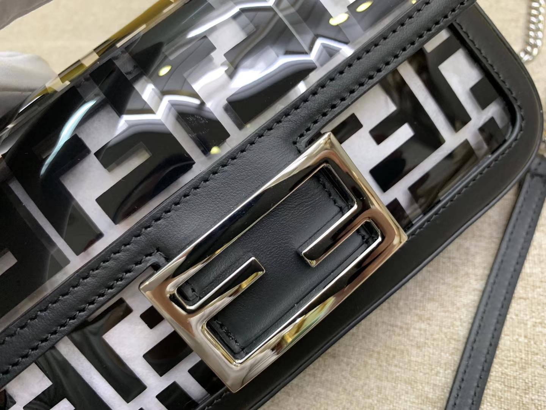 Fendi 芬迪 法棍包 Baguette手袋 全透明的TPU F 印花 26cm 黑色