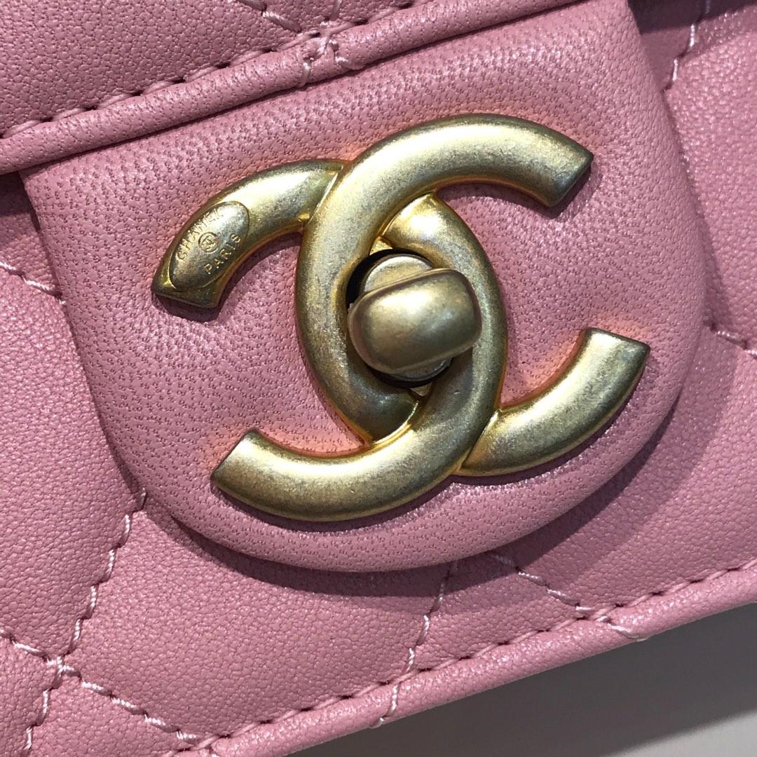 Chanel 香奈儿 新款链条珍珠包大号 进口小羊皮 粉色  沙金