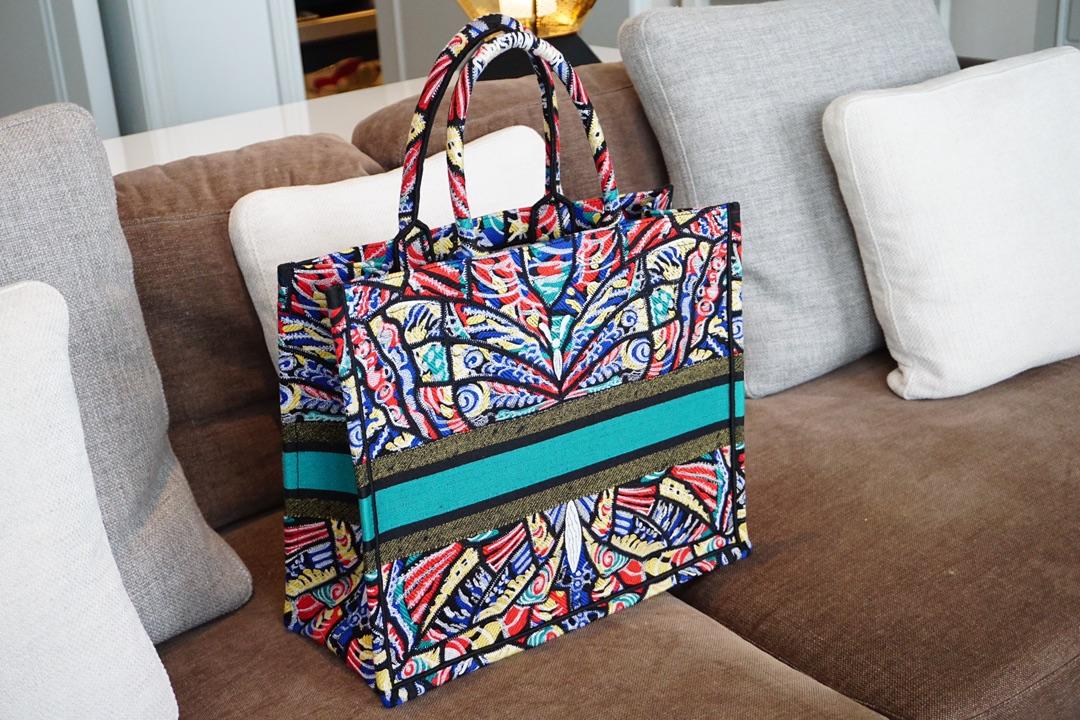 全新Dior布纹购物袋 花蝴蝶图案 细节实拍
