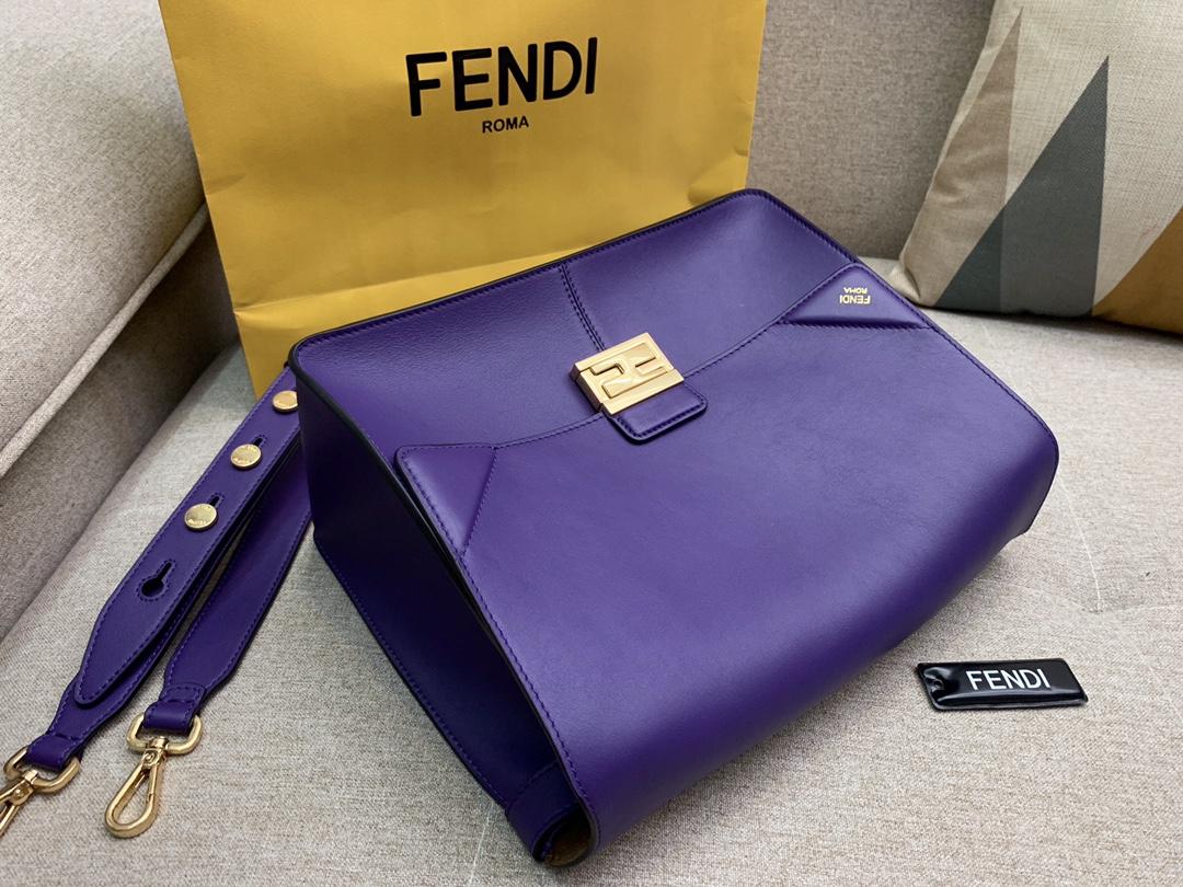 Fendi 芬迪 大号现 KANU系列 定制凸纹 紫色按扣女包 原厂进口皮