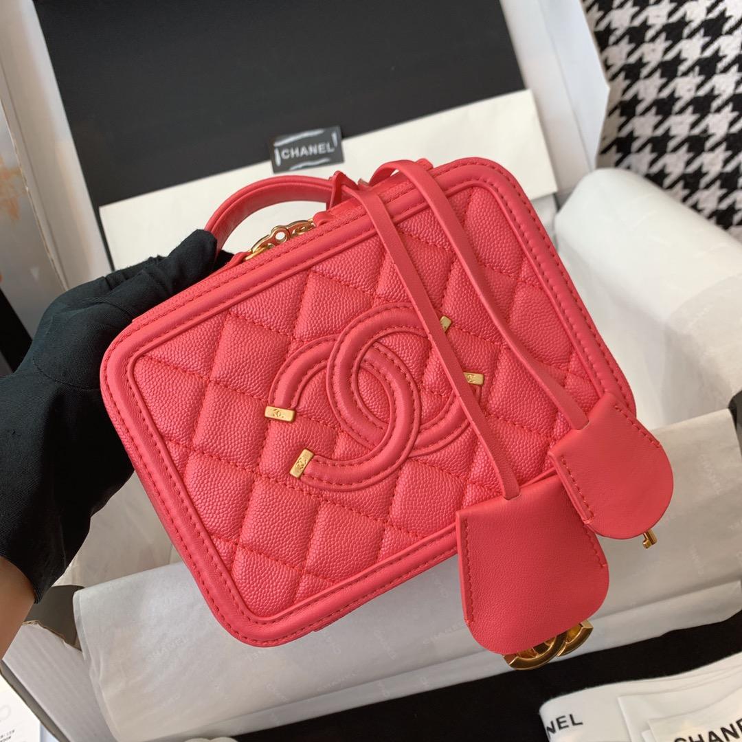 Chanel 香奈儿 化妆包 21cm 原厂皮小鱼子酱 西瓜红