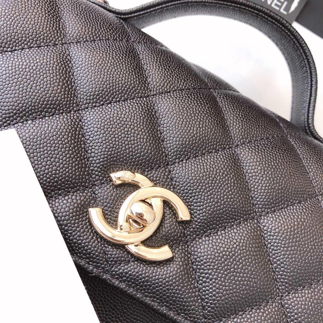 Chanel香奈儿 邮差包 20cm 黑色 进口小鱼子酱 香槟五金