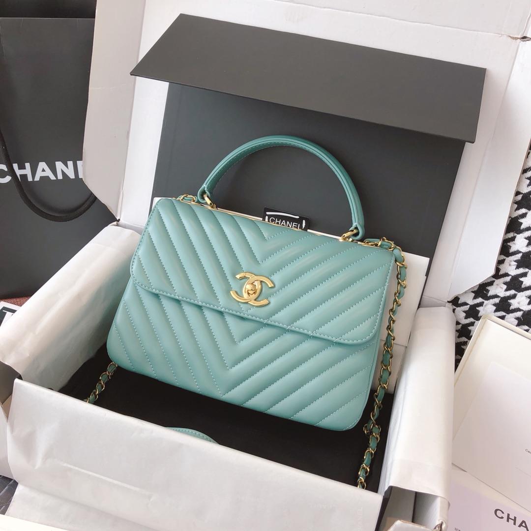 Chanel 香奈儿 TrendyCC 原厂进口小羊皮 薄荷绿 25cm