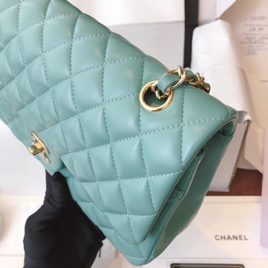 Chanel 香奈儿真品级 原厂bodin joyeux 羔羊皮 CF 25cm 现货 薄荷绿 香槟金扣