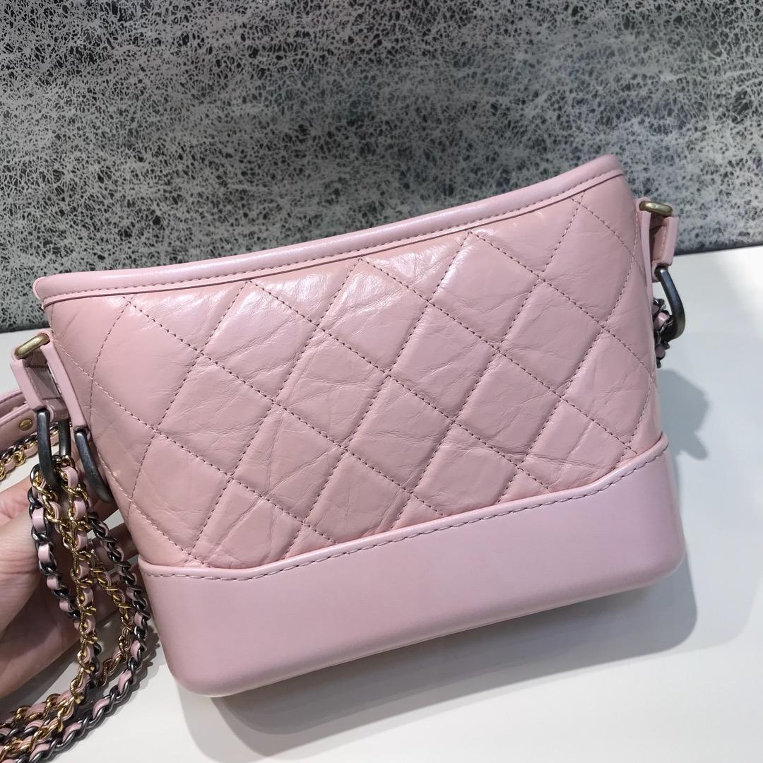 Chanel 香奈儿 顶级代购版本 Gabrielle 20cm 原厂树纹皮 樱花粉