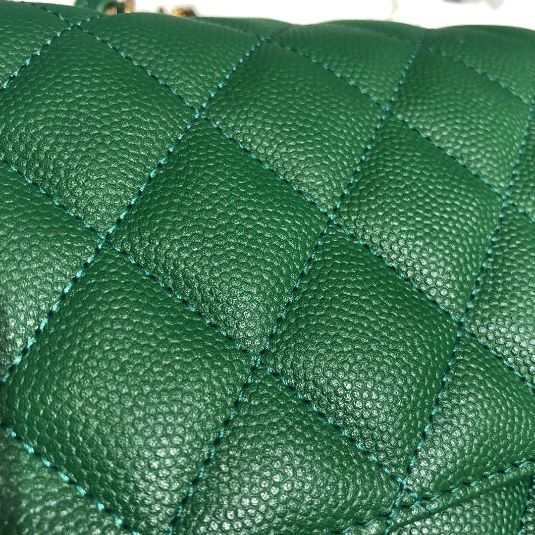 Chanel 香奈儿 法国原厂Haas球纹鱼子酱牛皮25cm 青草绿金扣