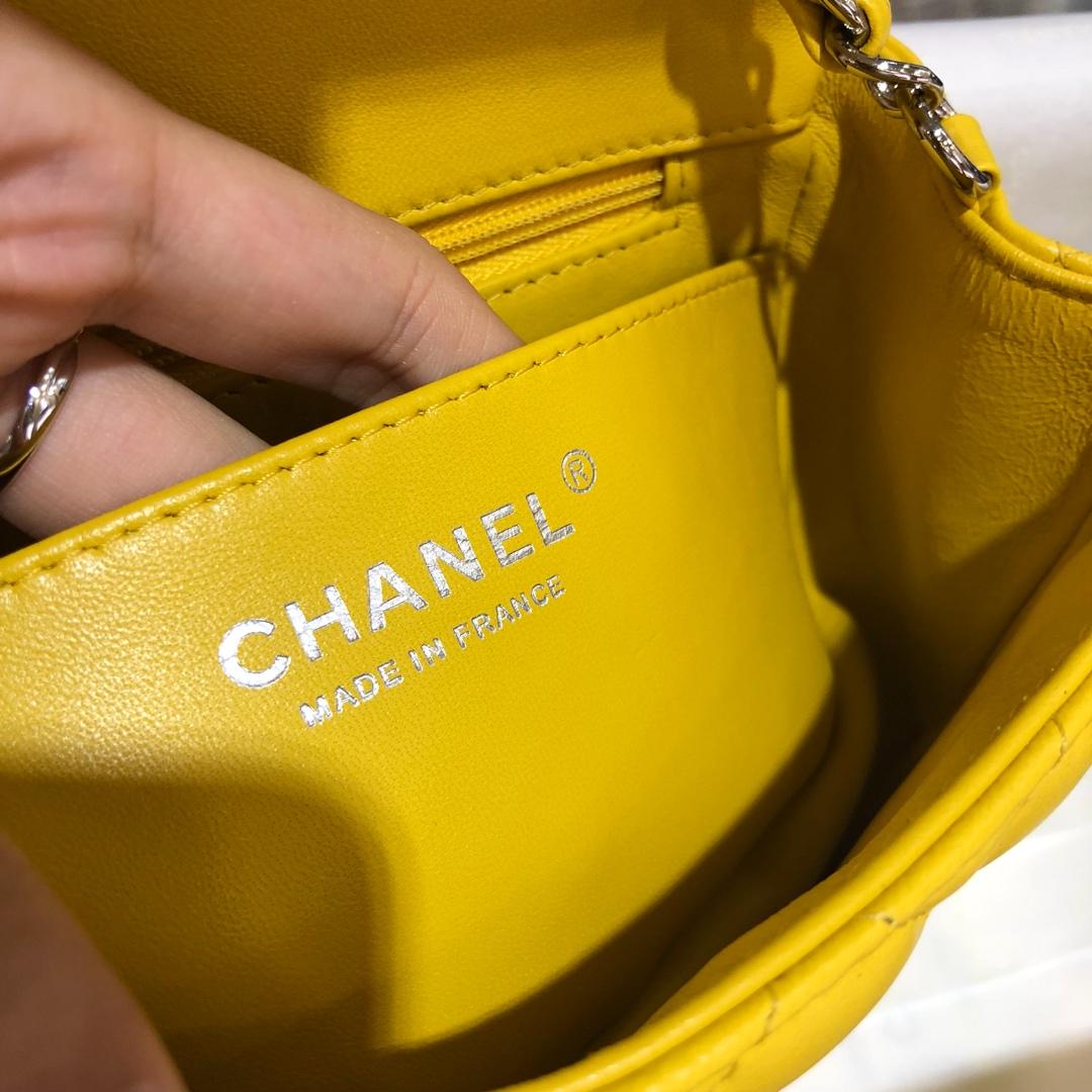 Chanel 香奈儿CF 方胖子 进口小羊皮 芒果黄银扣