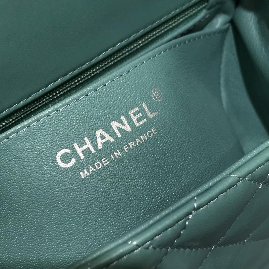 Chanel 香奈儿CF 方胖子 进口小羊皮 薄荷绿银扣