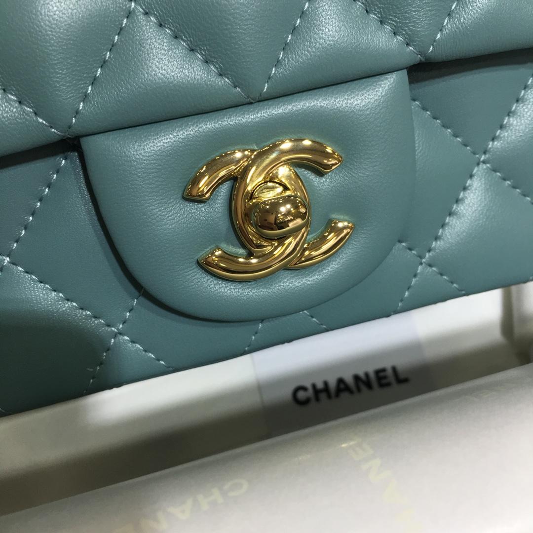 Chanel 香奈儿CF~方胖子~进口小羊皮~薄荷绿金扣~