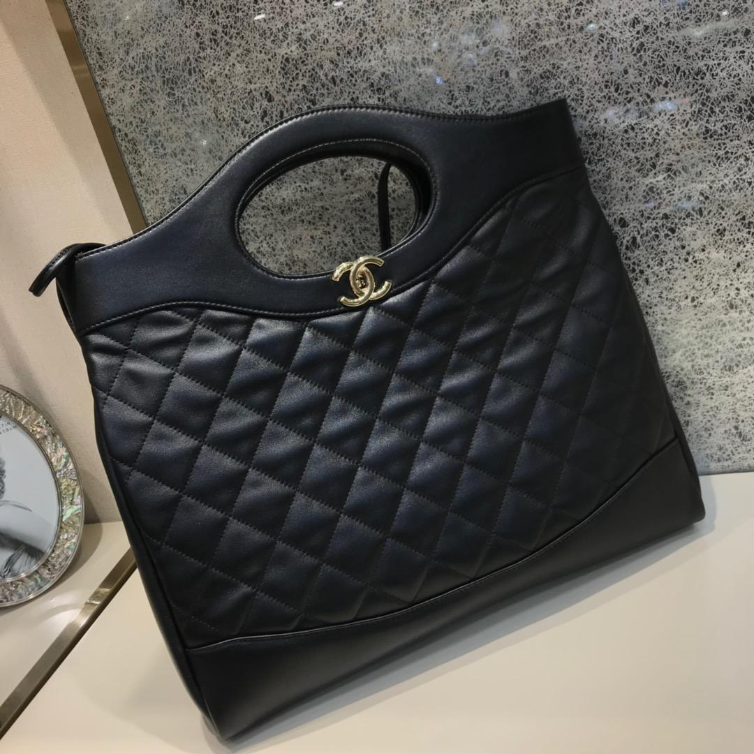 Chanel 31购物袋原厂树纹皮 金扣 可单肩背可折叠当手包 超实用 全黑色