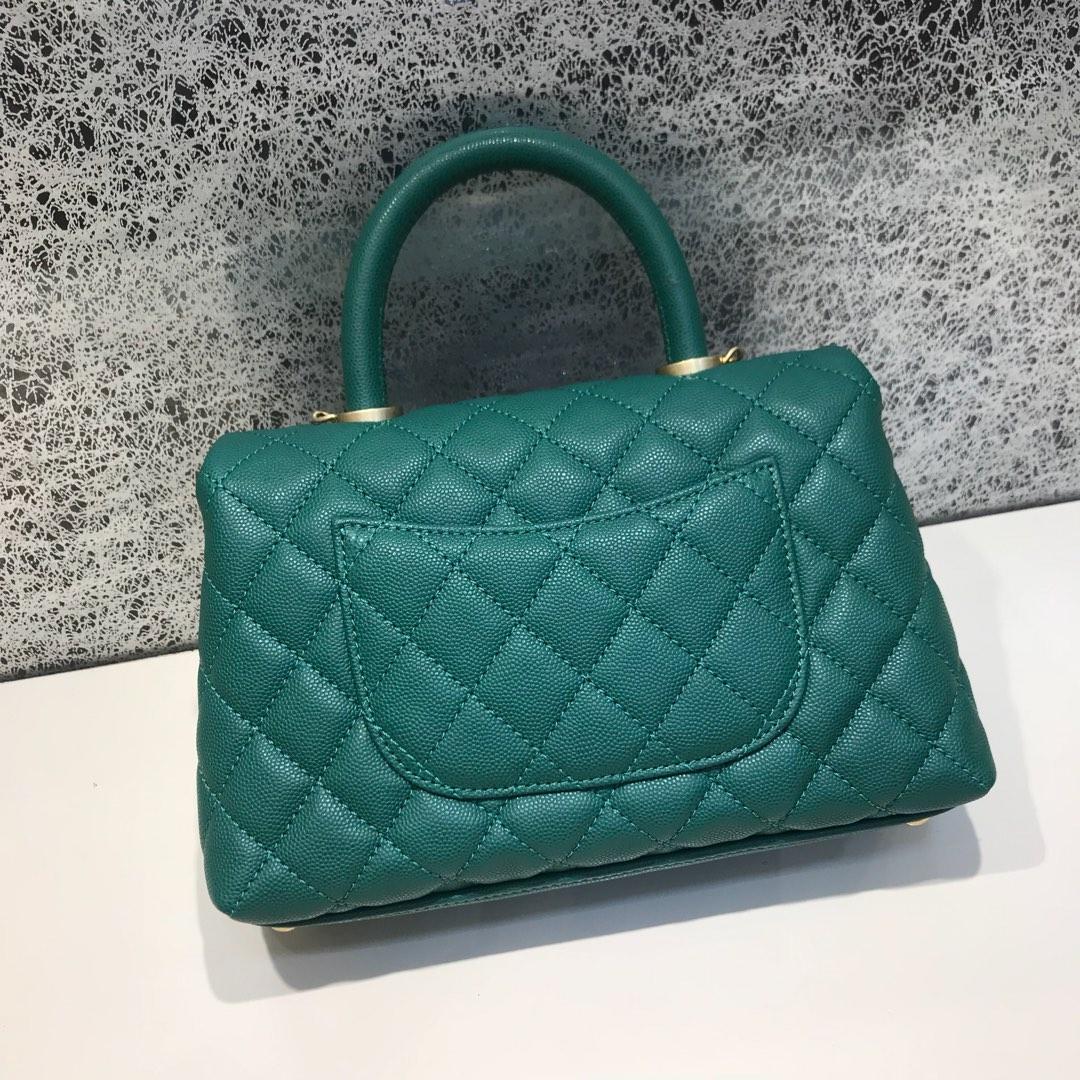 Chanel 香奈儿 CoCo Handle 顶级代购版 23cm 原厂小牛皮 球纹手柄 湖水绿色 沙金