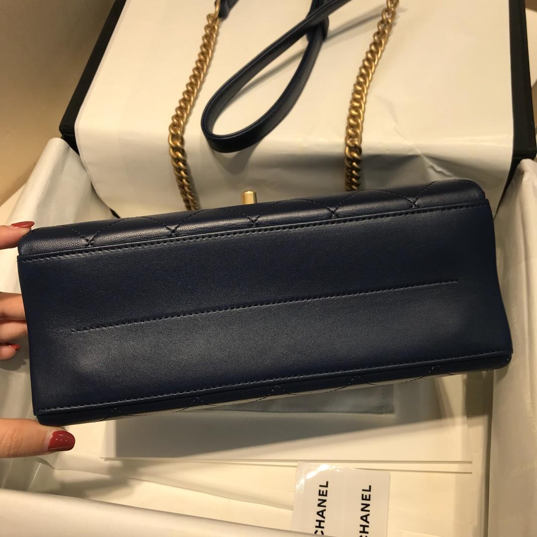 Chanel 香奈儿 口盖包~ 23cm 小羊皮~黑色