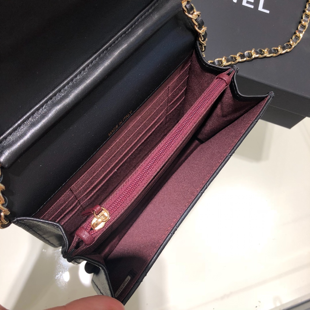Chanel 香奈儿 WOC 17cm 进口小羊皮 黑色 银扣
