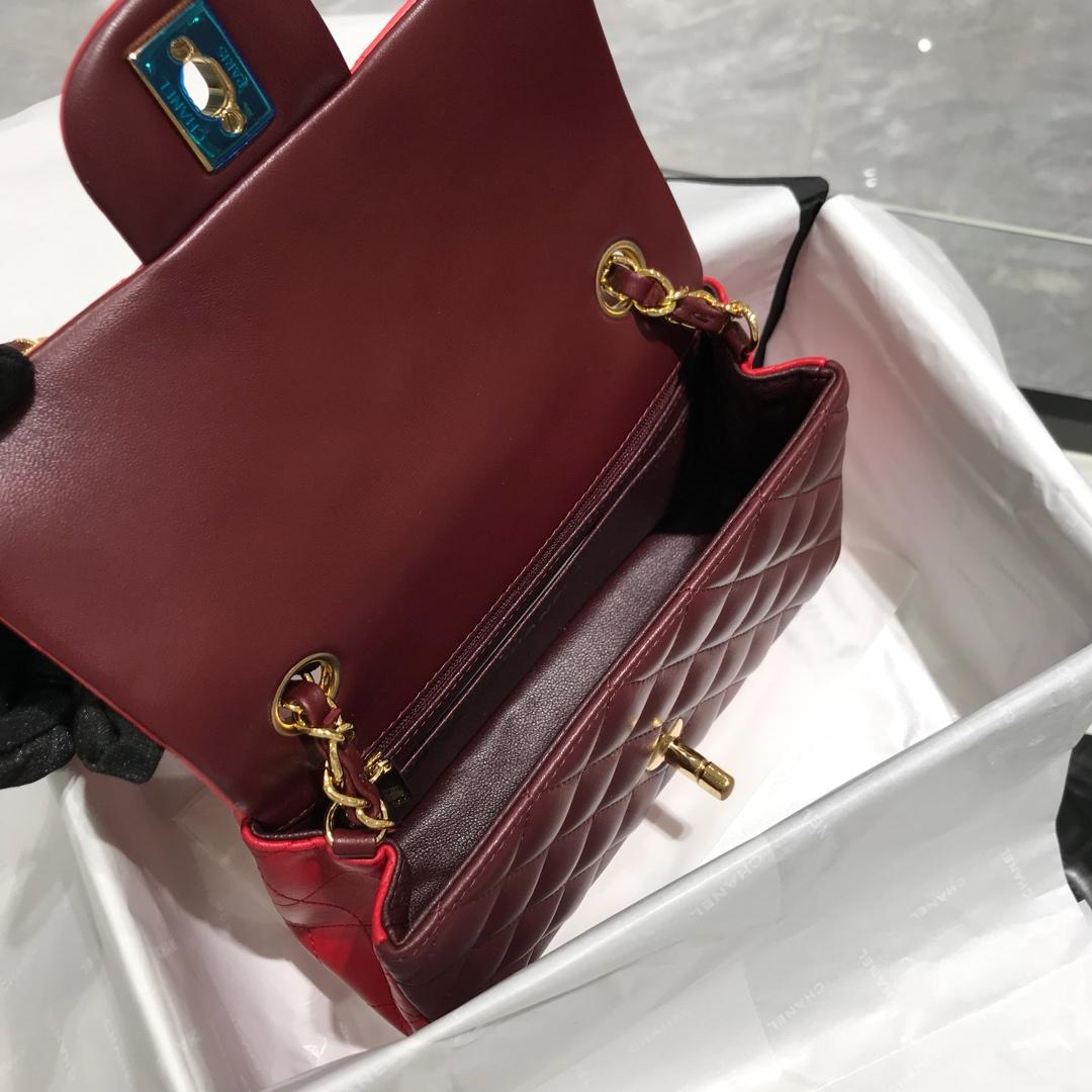 Chanel 香奈儿 Classic Flap 20cm 小羊皮真空电镀纯铜五金~ 三拼色~金扣