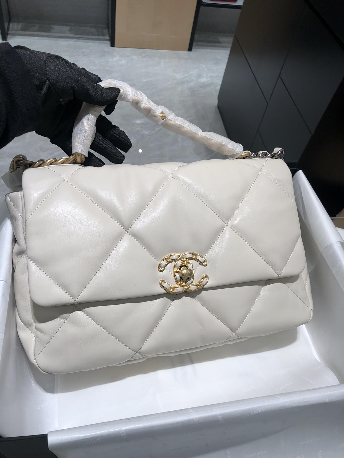 正品级 法国进口小羊皮Chanel2019秋冬新季系列 宽格纹粗链条翻盖包  20:30:10 全套包装