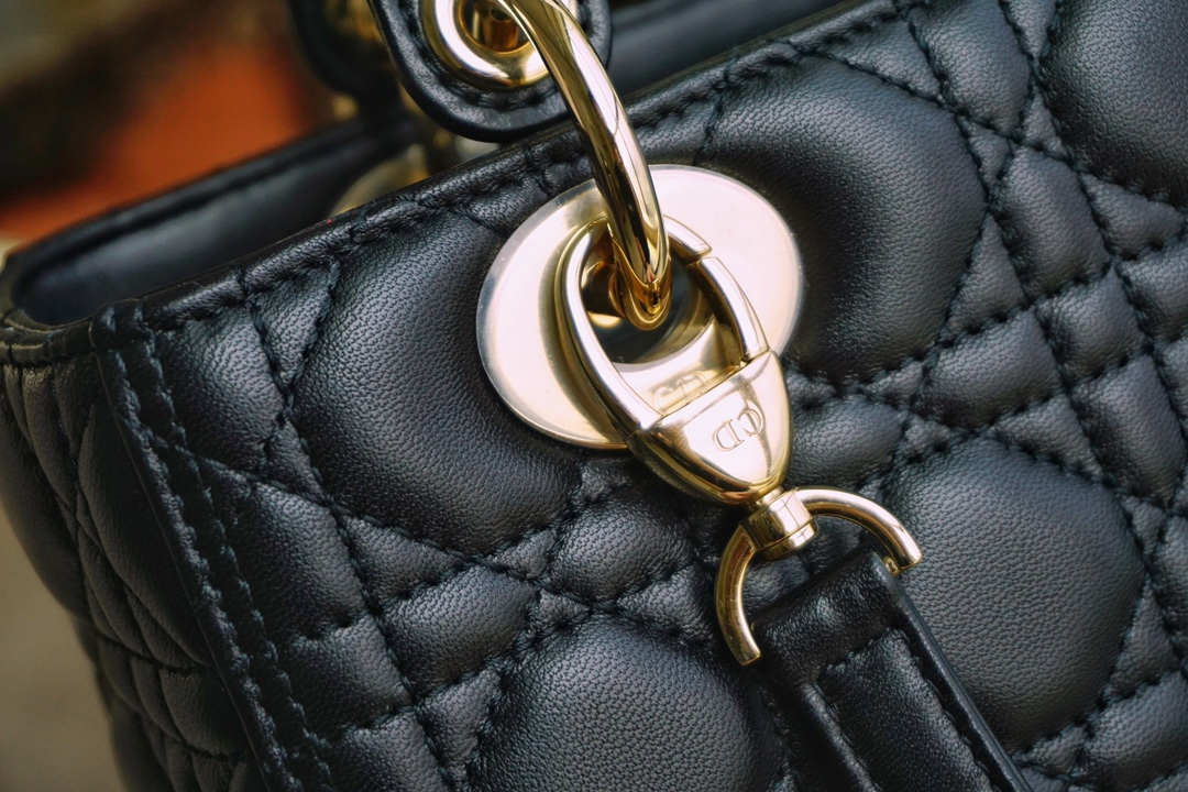 Dior 迪奥戴妃包 Lady Dior五格/24cm 羊皮  黑色  金扣  现货 原厂小羊皮