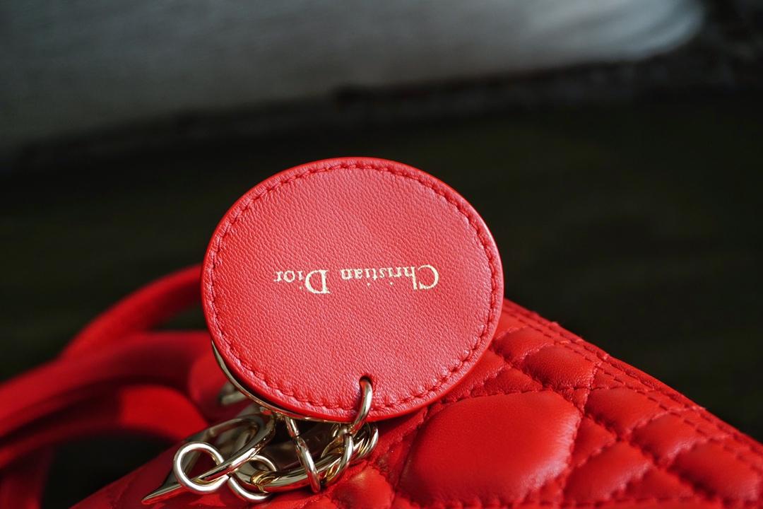Dior 迪奥戴妃包 Lady Dior五格/24cm 羊皮  红色  金扣  现货 原厂小羊皮